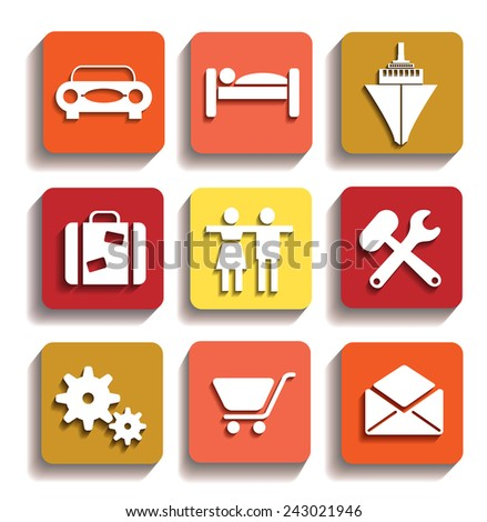 Icons of different colors with icons with drop shadow - stock photo