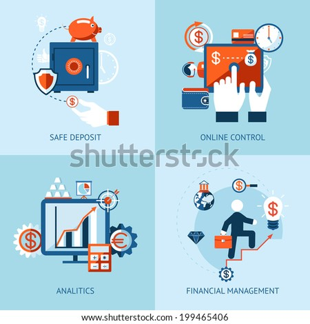 icons of financial analytics, online banking and payment control concepts - stock photo