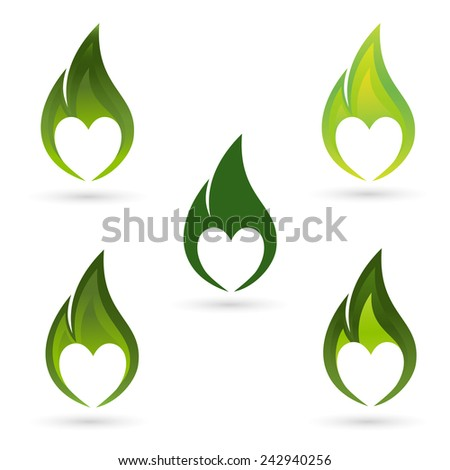 Icons of fire with heart silhouette - stock photo