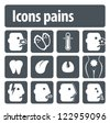 Icons pains. Illustration set of icons of human pain for visual clarity. - stock vector