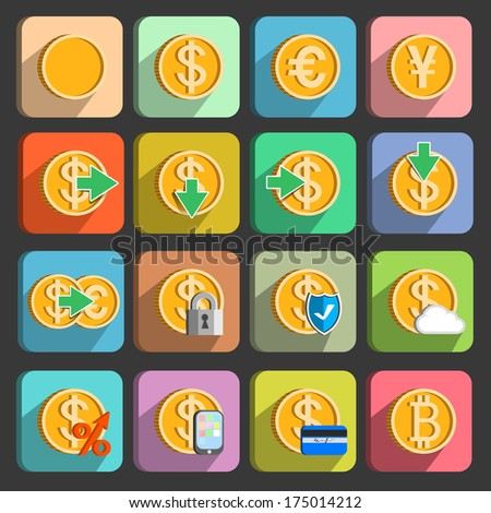 Icons set for electronic payments and transactions UI design in gold isolated  illustration - stock photo