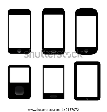 icons set of electronic devices. smartphones, tablets.(rasterized version) - stock photo