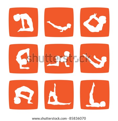Icons set of girl practicing yoga postures - stock photo