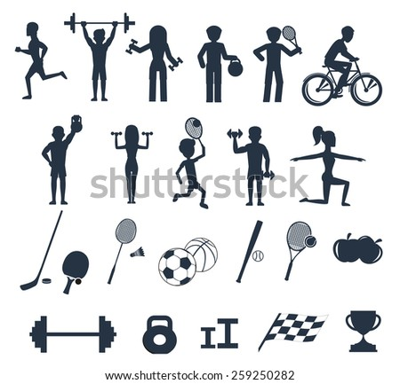 Icons set of man and woman doing warm-up and exercises with kettlebell, barbell and dumbbells. People jogging, practising yoga playing basketball and tennis black icon white background. Raster version - stock photo