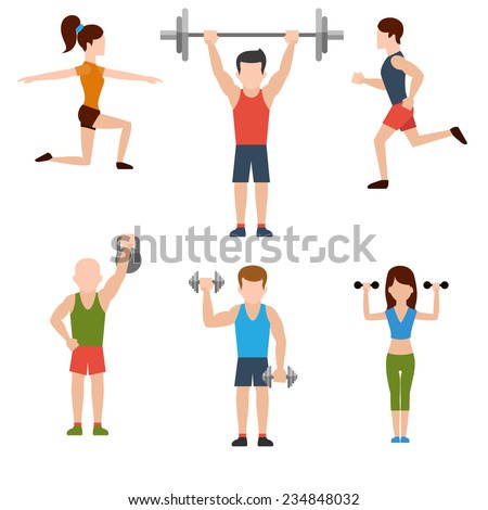 Icons set of man and woman doing warm-up and exercises with kettlebell, barbell and dumbbells on white background. Raster version - stock photo