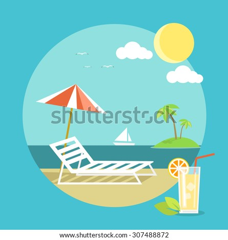 Icons set of traveling, planning a summer vacation, tourism and journey objects and passenger luggage in flat design. Vacation on beach. Different types of travel. Business travel. Raster version - stock photo