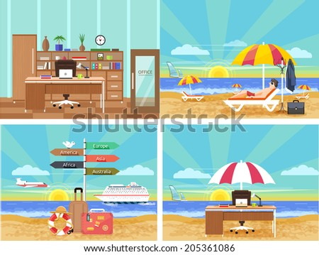 Icons set of traveling, planning summer vacation, tourism and journey objects and passenger luggage in flat design. Different types of travel From office in vacation. Office on beach. Raster version - stock photo