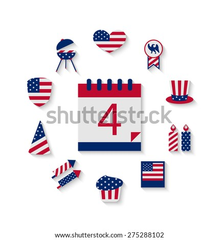 Icons Set USA Flag Color Independence Day 4th of July Patriotic Symbolic Decoration for Holiday or Celebration Backgrounds - raster - stock photo