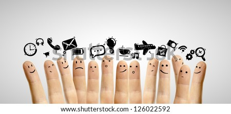 icons social network and happy group of finger smileys - stock photo