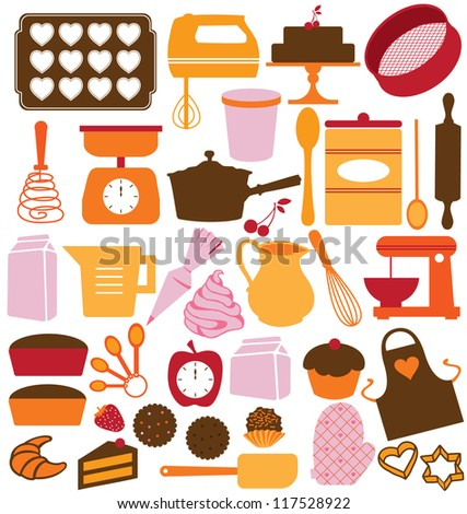 ICONS, SYMBOLS AND GRAPHIC ELEMENTS OF KITCHEN TOOLS.  - stock photo