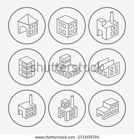 Icons with industrial plants in the White - stock photo