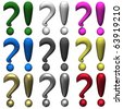 Icons with multicolored interrogative and exclamation marks, it is isolated, 3d. - stock vector