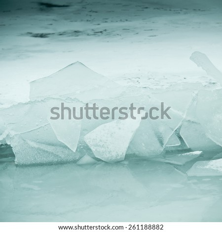 icy lake Balaton in winter - stock photo