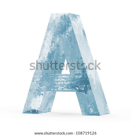 Icy Letters isolated on white background (Letter A) - stock photo