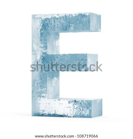 Icy Letters isolated on white background (Letter E) - stock photo