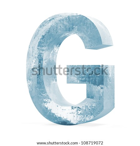 Icy Letters isolated on white background (Letter G) - stock photo