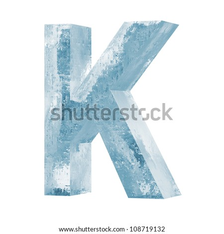 Icy Letters isolated on white background (Letter K) - stock photo