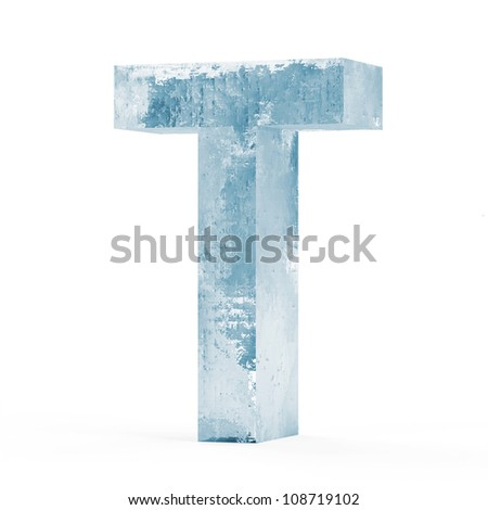 Icy Letters isolated on white background (Letter T) - stock photo