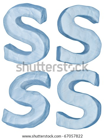 Icy letters set. Letter S uppercase isolated on white.