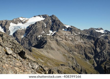 Icy Mt. Rolleston Viewed From Avalanche Peak.  Arthurs Pass, Southern Alps New Zealand - stock photo