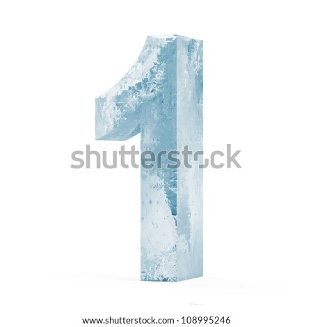 Icy Numbers isolated on white background (Number 1) - stock photo