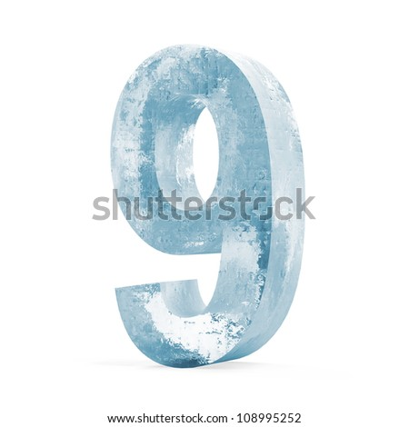 Icy Numbers isolated on white background (Number 9)