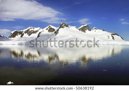 Icy Panoramic Landscape taken at Antarctica on a sunny day with clear blue sky.