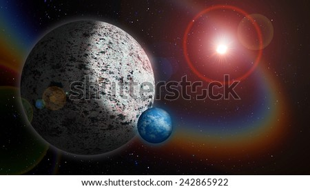 Icy Planet with Water Moon - stock photo