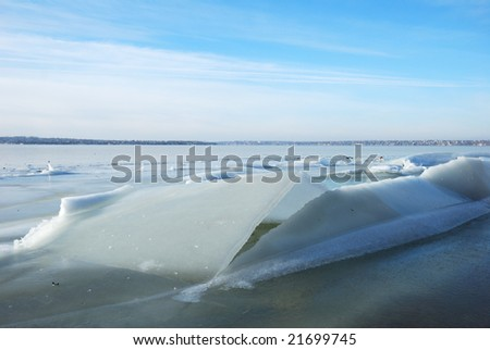 icy river nature background