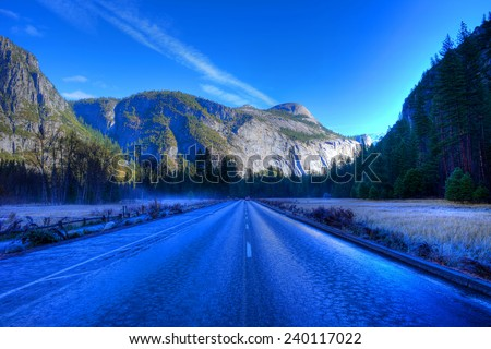 Icy road Yosemite Valley National Park California in autumn - stock photo