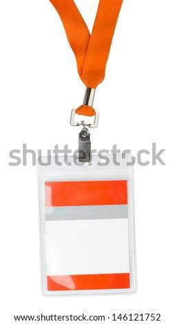 Id plastic badge holder with orange lace isolated on white - stock photo