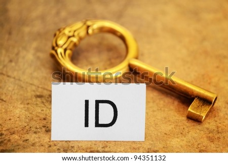 Id tag and old gey - stock photo