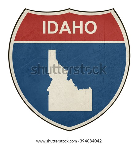 Idaho American interstate highway road shield isolated on a white background. - stock photo