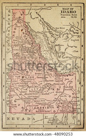 Idaho, circa 1880. See the entire map collection: http://www.shutterstock.com/sets/22217-maps.html?rid=70583