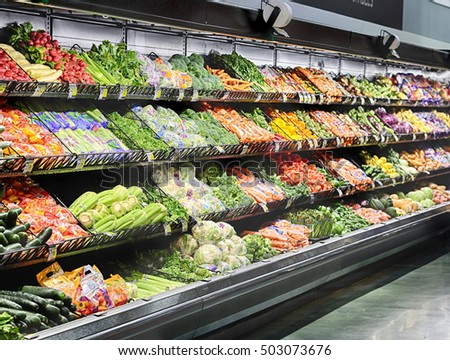 Idaho Falls, Idaho, USA,  28 June, 2016 The produce section in an interior image of a modern grocery store.