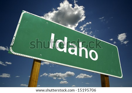 Idaho Road Sign with dramatic clouds and sky.