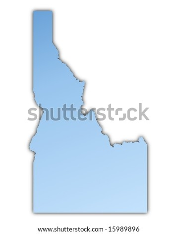 Idaho(USA) map light blue map with shadow. High resolution. Mercator projection. - stock photo
