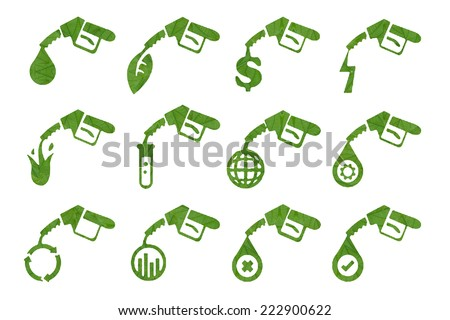 Idea and create  from leaf.(Petrol Pump  Icon concept) - stock photo
