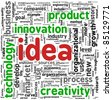 Idea and creativity concept related words in tag cloud - stock vector