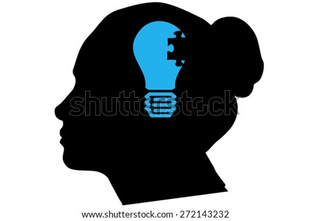 Idea and innovation graphic against silhouette of head - stock photo