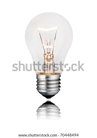 Idea and Solution - Glowing Lightbulb Isolated on White Background. Photo of Ordinary Switched On Lightbulb Over White - stock photo