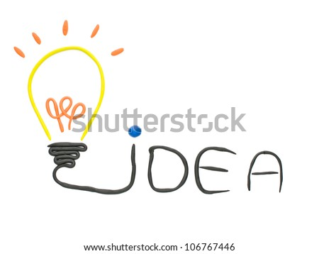 Idea bulb made from plasticine  isolated  on the white background - stock photo