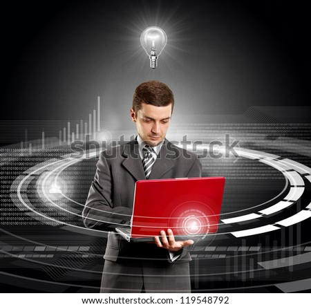 Idea concept, Business man with red laptop in his hands and lamp above - stock photo