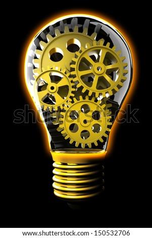 Idea concept. Gears inside light bulb isolated on black. - stock photo