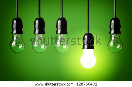 Idea concept.Green background. - stock photo