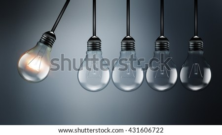 Idea concept image with light bulbs, perpetual Motion concept, an analogy with Newton's cradle, realistic 3D image  - stock photo