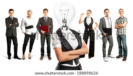 Idea concept. Lamp Head and Business team against different backgrounds - stock photo