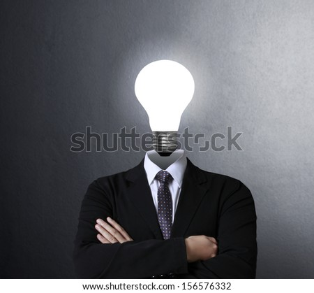 idea concept, lamp head businessman