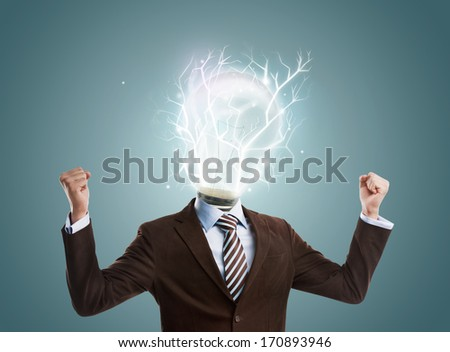 Idea concept, lamp head businessman full of energy to create and work - stock photo