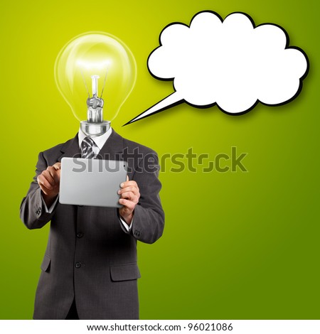 Idea concept, lamp head businessman with touch pad and speech bubble